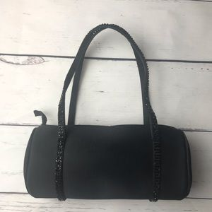 Talbots   barrel beaded evening bag   black